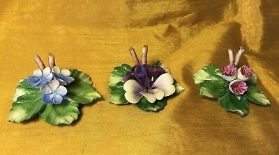 Set 3 CAPODIMONTE Italian Porcelain Pottery Flower Table Place Card Holders