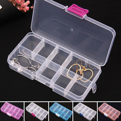 10 COMPARTMENTS PLASTIC Box Jewelry Bead Storage Container Craft