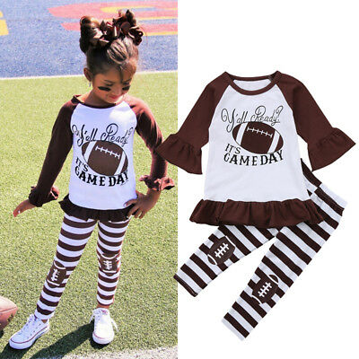 US Toddler Kids Baby Girl Dress Tops+Stripe Pants Tracksuit Clothes Set Outfit