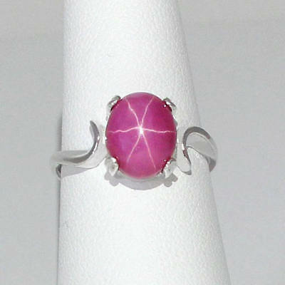 4-6 Ct Beautiful Natural Star Ruby 925 Sterling Silver Unisex Gemstone Ring
