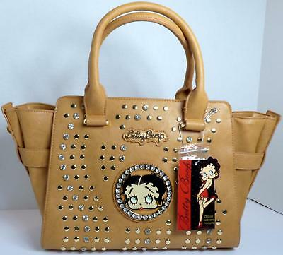 Betty Boop Bling Faux Leather Purse Handbag Satchel Official Licensed Camel