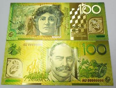 AUSTRALIA 100 DOLLARS 9999 COLORFUL 24K GOLD BANKNOTE BILL