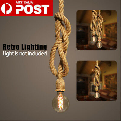 AU Industrial Vintage Hemp Rope Ceiling Light Pendant Lamp Chandelier Fixture