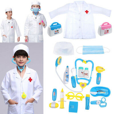 HOT Kids Pretend Play Doctor Kit Set Playset Toy Doctor Coat Medical Fun Costume
