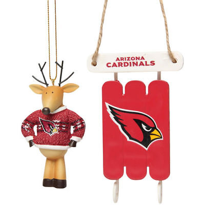 Arizona Cardinals 2Pk Reindeer With And Sleigh Ornaments Christmas