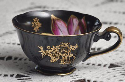 Ohashi Japan jet black fuchsia pink & gold flowers hand-painted china footed cup