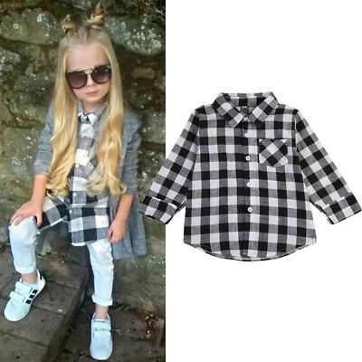 AU Stock Kids Baby Girl Boy Casual Long Sleeve Tops Plaids & Checks Shirt Blouse