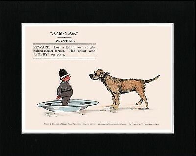 Border Terrier And Policeman Dog Lovely Vintage Style Art Print Ready Matted