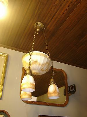 Antique  Center Dome Light Fixture with 3 Matching Shades. Milk Glass 9243a