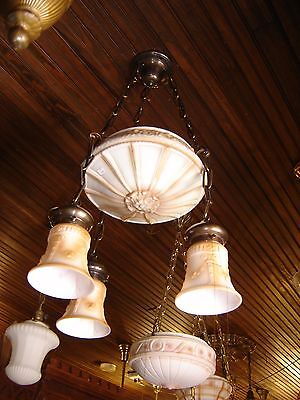 Antique Center Dome Light Fixture with 3 Matching Shades. Milk Glass   9245a