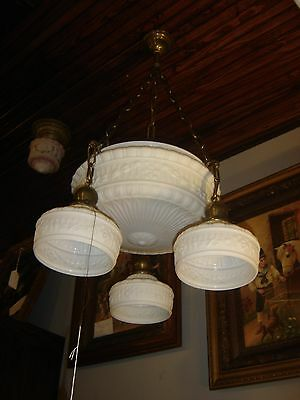 Antique Brass Light Fixture Embossed Milk Glass Dome 3 matching shades.  7444