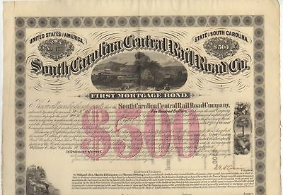 1871 $500 South Carolina Central Railroad Co. First Mortgage Bond