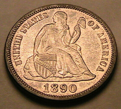 1890-P Ch AU+ Lustrous Untoned White Seated Liberty Dime Silver 10C US Coin