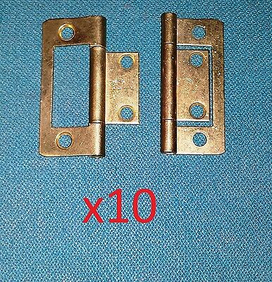 """10 pc 2"""" Non/No Mortise Butt Hinge Brass Plated Cabinet/Door/Furniture DIY Lot"""