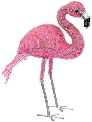 Tropical Standing Pink Flamingo Beaded Wire Sculpture 9.5 Inches Tall