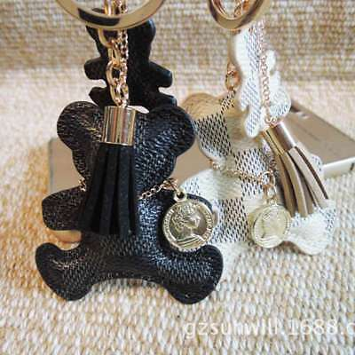 Fashion Bear Leather Tassel Key Ring Purse Bag Charm Phone Car Keychain W1Q8B