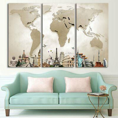 Colorful World Map Canvas Tower Oil Painting Print Home Wall Decor Art