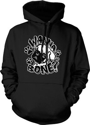 Wanna Bone? Pug Face Paw Prints - Sexual Funny Sayings Hoodie Pullover