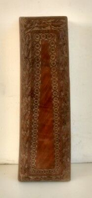 Vintage Old Collectible Rare Hand Carving Wood Unique Rectangular Long Shape Box
