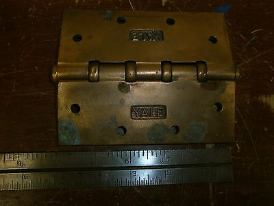 "YALE 1 Large 5"" x 4"" Brass Hinges - Heavy Vintage Antique Metal"