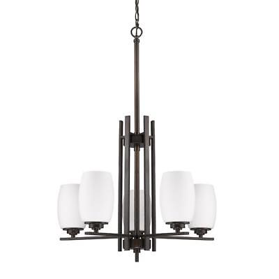 Retro Look 5 Light Drum Chandelier White Opal Glass Shades Oil Rubbed Bronze