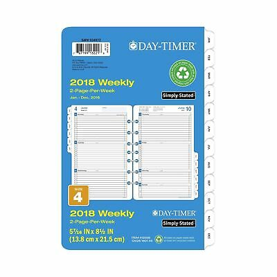 """Day-Timer Refill 2018 Two Page Per Week January 2018 - December 2018 5-1/2"""" x..."""