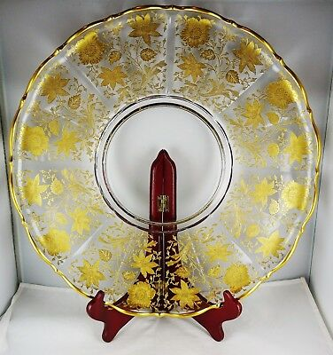 Cambridge Glass Wildflower Gold Encrusted Large Rolled-Edge Torte Plate