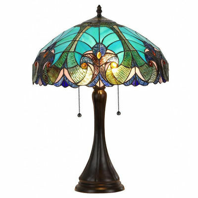 Victorian Tiffany Style Table Lamp Blue Green Glass Shade Bronze Antique Finish