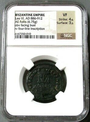 886 - 912 Ad Byzantine Empire Ae Follis Leo Vi The Wise Coin Ngc Very Fine