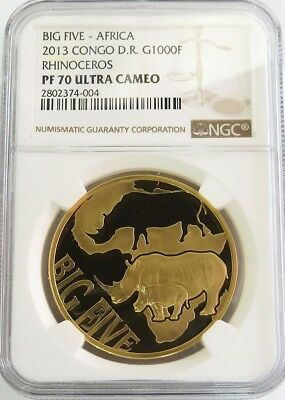 2013 GOLD CONGO 400 MINTED BIG 5 RHINO 1000 FRANCS 1oz NGC PROOF 70 ULTRA CAMEO