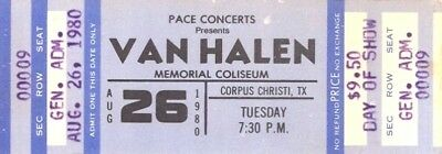 Van Halen 1980 World Invasion Tour Corpus Christi Unused Full Concert Ticket