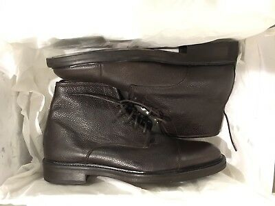 NEW Theory Italy Long Sight Pebbled CapToe Leather Dark Brown Mens Boots 9D $595