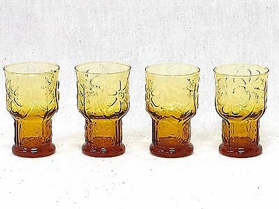 "Libbey Country Garden Daisy Pattern Amber Glasses Lot of Four 5"" Vintage"