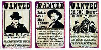 Wild West Wanted Poster TIN SIGN SET rustic vtg western bar metal wall decor lot