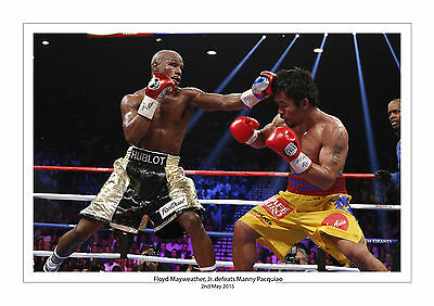 Floyd Mayweather Jr. Manny Pacquiao A4 Aufdruck Foto Box 2 May 2015 MGM Vegas 3