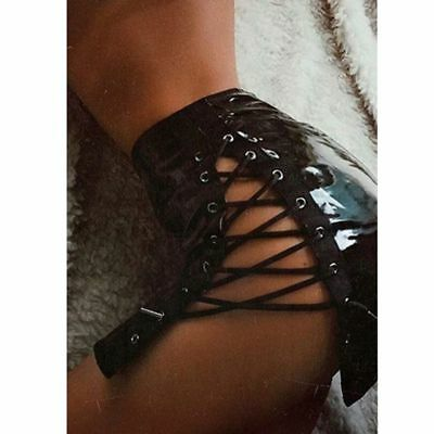 Sexy Black PU Side Hollow Out Eyelets Lacing Skirts Clubwear Party Mini Skirts