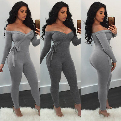 Womens V Neck Bandage Long Sleeve Solid Color Jumpsuit Bodycon Clubwear Playsuit