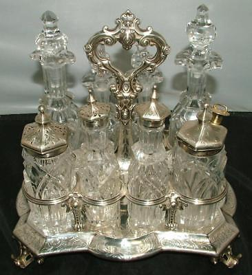 Antique Art Nouveau 8pc ENGLISH STERLING SILVER CRUET CASTOR SET BARNARD Family