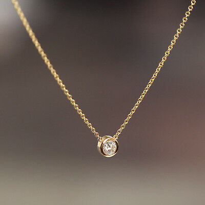 Solitaire Natural Diamond Bezel Wedding Engagement Floating Layering Necklace
