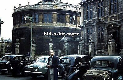 Original Slide - Old UK Street Scene with Vintage Cars and Architecture