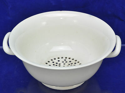 Antique Creamware Handled Colander Bowl Late 18th Century
