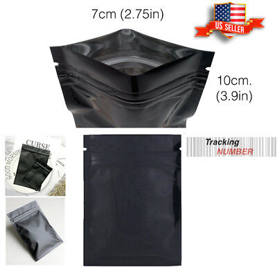 Black Aluminum Bag Foil Flat Zip lock Packing Cosmetic Jewelry Pouch Goods 100Pc