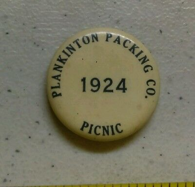 Vintage 1924 Plankinton Packing Co Picnic Advertising Pin Wisconsin? Rare