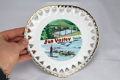 "Vintage Collectible Decorative Wall Hanging Plate Sun Valley Idaho 7"" Japan #196"