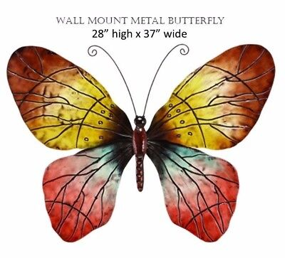 Butterfly Wall Mount Decor Garden Monarch Flying Metal Art Hand Painted Wings LG