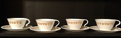 Corelle Butterfly Gold Cups And Saucers (Hooked Handle) Set of 4