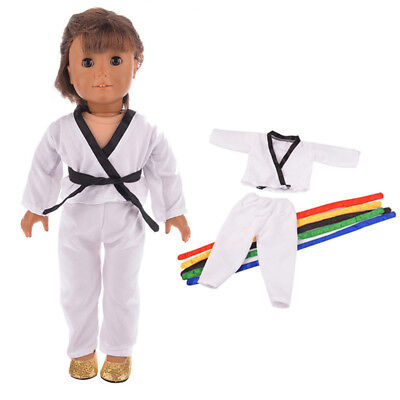 White Taekwondo Uniform for American Girl Journey 18'' Dolls Outfit Clothes