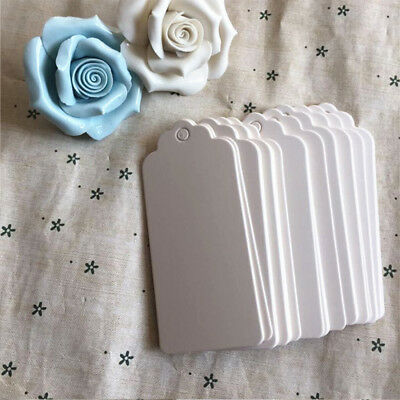 Pack of Gift Tags Wedding Scallop Label Brown/White Blank Luggage Kraft 9 x4.5cm