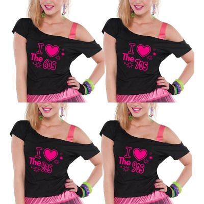 I Love The 80s 70s 60s 90s Top Pop Star Ladies Retro T-shirt Hen Party Tees Lot