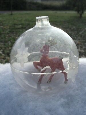 Vintage Red w Gold Flocked Reindeer in Lrg Plastic Christmas Ball Bulb Ornament